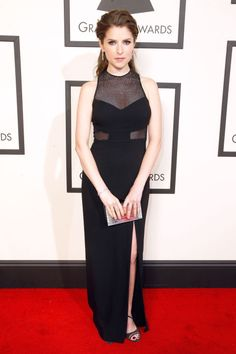 Anna Kendrick went for a basic but sultry black Emanuel Ungaro gown for the 2016 Grammys.