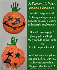 Paper Plate Pumpkin Handprint Craft & Poem for kids from Handprint and Footprint ART