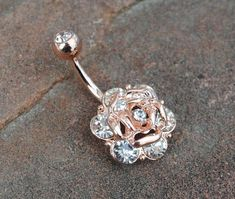 Rose Gold Crystal Rose Belly Button Navel Ring by HumbleHippy #goldpiercingbodyjewelry