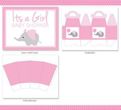 Pink Elephant Baby Shower Party Package Pink por colorsandpixels