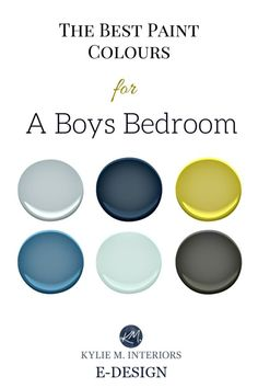 The best paint colour and accent ideas for a boys or teenager bedroom. Kylie M INteriors E-design Bedroom ideas The Best Benjamin Moore Paint Colours for Boys Rooms Boys Bedroom Colors, Boys Bedroom Paint, Boys Room Paint Ideas, Diy Bedroom, Rooms For Boys, Trendy Bedroom, Paint Colors Boys Room, Design Bedroom, Best Colour For Bedroom