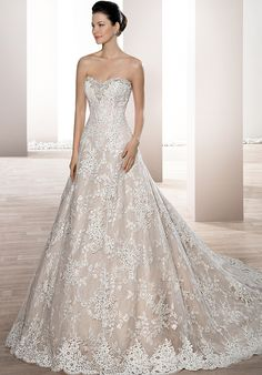 Classic, strapless A-line wedding dress | Demetrios 674 | http://trib.al/bwKrvWw