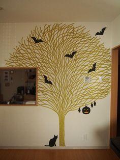 masking tape tree Adoro o gato em baixo! :)