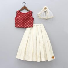Red Embroidery Top With Off-White Ghagra And Dupatta Long Dress Design, Girls Frock Design, Kids Frocks Design, Baby Frocks Designs, Baby Dress Design, Cotton Frocks For Kids, Frocks For Girls, Kids Outfits Girls, Little Girl Dresses