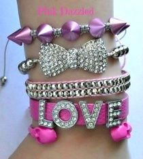 """Pink & Silver Love and Bow """"Fab"""" Set Arm Candy"""