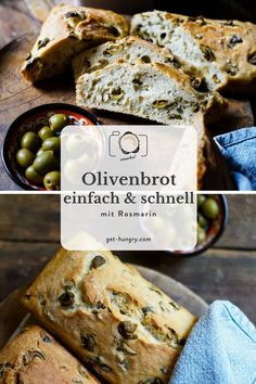 Das einfachste Olivenbrot der Welt — get hungry! The easiest olive bread in the world - get hungry! Fish Recipes, Gourmet Recipes, Bread Recipes, Cookie Recipes, Chicken Recipes, Banana Recipes, Smoothie Recipes, Pain Aux Olives, Nutritional Yeast Recipes