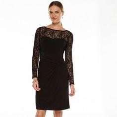 Chaps Lace-Trim Sheath Dress - Women's