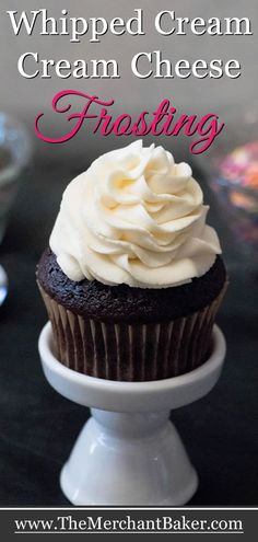 Whipped Cream Cream Cheese Frosting with Video! - The Merchant Baker - - Whipped Cream Cream Cheese Frosting. A combo of two favorites, you'll use this creamy, not too sweet frosting and filling for much more than topping cakes. Whipped Vanilla Frosting Recipe, Best Frosting Recipe, Whipped Cream Cheese Frosting, Making Whipped Cream, Frosting Recipes, Cupcakes With Cream Cheese Filling, Whip Cream Icing, Cream Cheese Fristing, Creamy Cheese