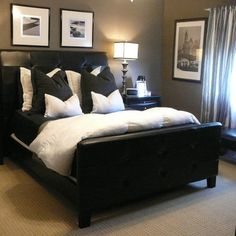 Pinterest masculine bedrooms bed designs in wood and black bedding