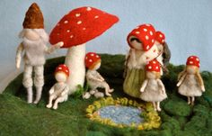 Waldorf inspired needle felted mushroom dolls The by MagicWool,