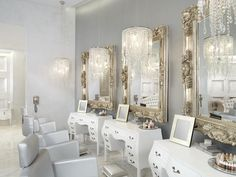 Shabby chic - love the chandeliers!