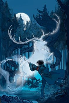 Harry's face and upper body is painted, and the beginnings of his Patronus-casting spell are sketched out: