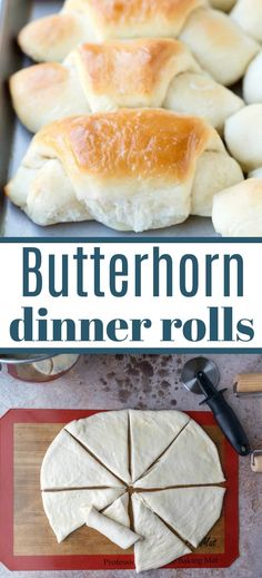 Butterhorn Dinner Rolls are soft and fluffy, buttery dinner rolls! Healthy Bread Recipes, Yeast Bread Recipes, Fun Easy Recipes, Retro Recipes, Easy Meals, Dinner Rolls Recipe, Roll Recipe, Savory Scones, Recipe Filing