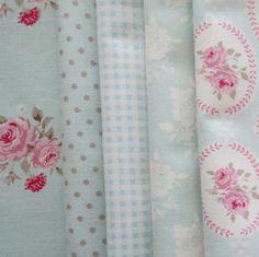 Pretty Tilda Fabric Bundle  AQUA  Smaller by PrettyFabricandTrims, $12.00