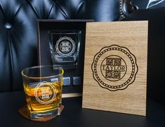 Coaster and glass and 3 whiskey stones in personalized wood box. Whiskey Gift Set, Real Leather, Italian Leather, Leather Coasters, Personalized Coasters, Glass Boxes, Light Oak, Wood Boxes, Wood Species