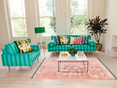 Interior designer Sophie Robinson looks at the new capsule collection designed by artist Luke Edward Hall for Habitat Sophie Robinson, Edward Hall, Green Lounge, Bedroom Cupboard Designs, Velvet Furniture, Hall Design, Home Trends, Pink Walls, Furniture Styles
