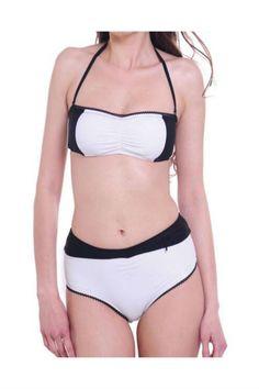 Black White Halter Swimsuit
