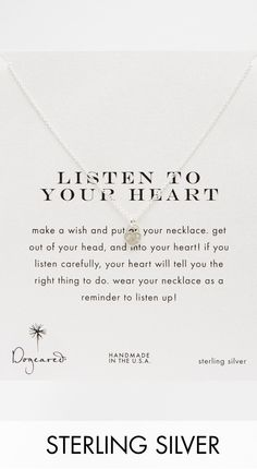 'listen to your heart,' necklace