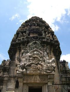 A prang at the Khmer temple complex of Phimai in Thailand.  The size of Angkor Wat, the sanctuary marks the end of a highway to Angkor.  Built between the 11th and 12th centuries AD, the Buddhist temple and vicinity was originally called Vimayapura.