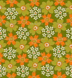 Modello di fiore di seamless retrò anni ' 70 — Vettoriali Stock ...