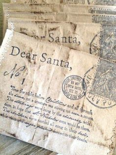 Beautiful vintage envelope decorations with Twas the Night Before Christmas printed on them.