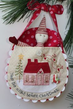 """Red Brolly's The Night Before Christmas Bag. Santa's Sleigh is 1 of 4 patterns total included in this pattern.  Finished size of each of the 4 bags:  7 1/2"""" x 7 1/2"""""""