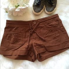 Brown Safari Shorts with Rope Tie Front Never worn, mint condition! These are perfect for spring and summer! Beautiful chocolate brown color. NO TRADES PLEASE Heritage 1981 Shorts