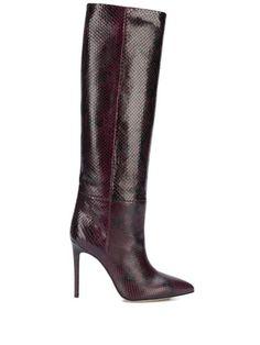 Paris Texas Snakeskin Print Leather Boots In Red Leather Boots, Black Leather, Paris Texas, Snake Skin, Heeled Boots, Stiletto Heels, Burgundy, Women Wear, Slip On