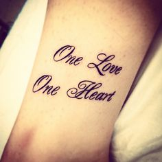My tattoo - one love, one heart - Bob Marley