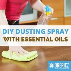 With just 2 ingredients and a glass spray bottle this DIY dusting spray with essential oils is one of the easiest, natural cleaners you can make!