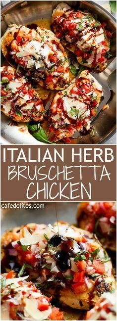 "Italian Herb Bruschetta Chicken is a low carb alternative to a traditional Bruschetta! Transform ordinary chicken into a delicious, flavourful meal! | <a href=""https://cafedelites.com"" rel=""nofollow"" target=""_blank"">cafedelites.com</a>"