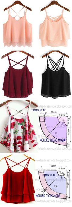 Ideas Sewing Patterns Tops Diy For 2019 Diy Clothing, Clothing Patterns, Dress Patterns, Clothes Refashion, Fashion Sewing, Diy Fashion, Fashion Outfits, Diy Outfits, Fashion Top