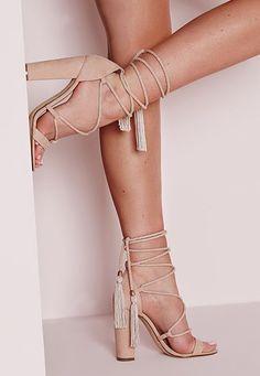 Lace Up Tassel Block Heel Sandals Nude:
