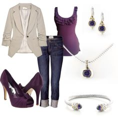 John Medeiros Jewelry Collections Nouveau Collection in amethyst paired up with the latest fall fashion!