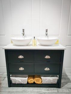 Hand Painted Bathroom Vanity Unit of Master Bathroom Vanity, Bathroom Vanity Units, Rustic Bathroom Vanities, Modern Master Bathroom, Bathroom Faucets, Master Bathrooms, Bathroom Ideas, Family Bathroom, Loft Bathroom