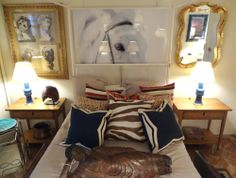 This NYC #Mecox #room #design is complete with colorfully patterned #pillows, #bedside #tables and #lamps #interiordesign #NewYork #MecoxGardens #furniture #BobTabor #horse #shopping #home #decor #design #room #designidea #vintage #antiques #garden