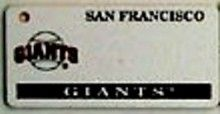 """This is an MLB San Francisco Giants Team License Plate Key Chain or Tag. An excellent and affordable gift for an avid MLB fan! The key chain is available with engraving or without engraving. It is a standard key chain made of durable plastic and size is approximately 1.13"""" x 2.25"""" and 1/16"""" thick."""