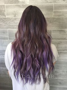 Long Purple Balayage Hair Hair In 2019 pertaining to 44 Attractive Lilac Lavende Lavender hair styles Purple Blonde Hair, Balayage Hair Purple, Brown Ombre Hair, Ombre Hair Color, Hair Colors, Balayage Highlights, Balayage Color, Purple Hair Tips, Subtle Purple Hair