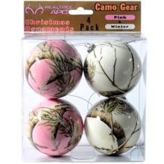 Realtree Pink and Snow Christmas Ornaments