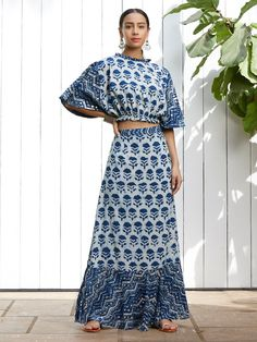 Indigo Hand Block Printed Cotton Crop Top with Skirt - Set of 2 Cotton Crop Top, Lace Crop Tops, Cotton Skirt, Cotton Dresses, Printed Cotton, Printed Gowns, Printed Skirts, Crop Top And High Waisted Shorts, Lehenga Crop Top