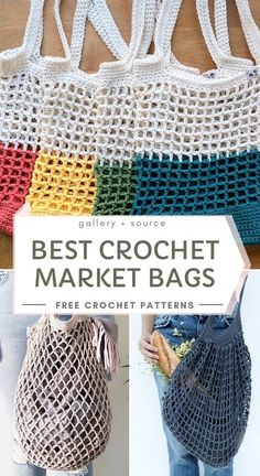 Best Crochet Market Bags With Free Crochet Patterns Springtime is the best way t. - Best Crochet Market Bags With Free Crochet Patterns Springtime is the best way to go out explore you - Bag Crochet, Crochet Market Bag, Crochet Purses, Crochet Crafts, Crochet Baby, Crocheted Bags, Bobble Stitch Crochet, Crochet Summer Hats, Crochet Handbags