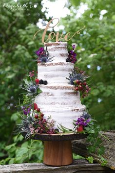 Rustic naked wedding cake with thistles and Wisconsin wild flowers by Elizabeth's Cake Couture. www.elizabethscakecouture.com