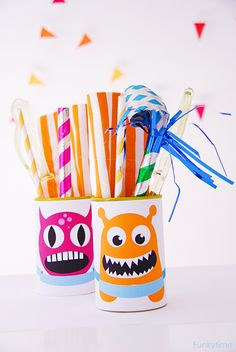 Monster Tin Cans for party storage