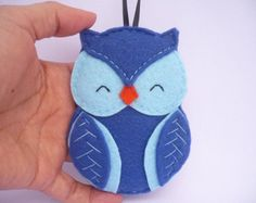 felt orniment blue | Owl felt Christmas ornament - blue felt decoration - wall decor ...