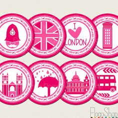London Cupcake toppers Pink Printable Party Circle by FlogoShop, $6.00