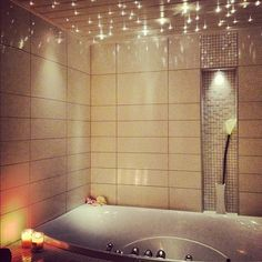 Lights above the bath so you can shut off the regular lights and relax, I would love this!! Must have!!!