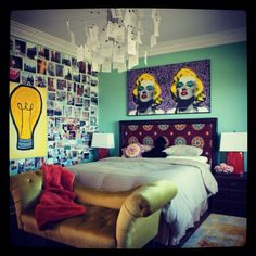 Eclectic Bedroom Ideas for Women Used Green Wall and Wooden Flooring Combined with Yellow Leather Classic Sofa Furniture Funky Bedroom, Retro Bedrooms, Shabby Chic Bedrooms, Modern Bedroom, Bedroom Wall, Bedroom Decor, Bedroom Ideas, Bedroom Designs, Bedroom Photos