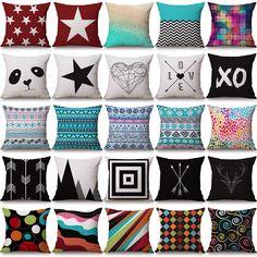 Colorful Geometric Cotton Linen Pillow Cases Sofa Car Throw Pillow Cushion Cover Linen Pillows, Decorative Pillows, Cushions, Throw Pillows, Diy Room Decor, Living Room Decor, Oh My Home, Cushion Embroidery, Diy Home