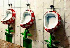 Super Mario piranha plant urinals Yup, that home life! Chili Bar, Cafe Geek, Deco Gamer, Mario Room, Arcade Room, Bar Games, Game Room Design, Geek Decor, Gamer Room