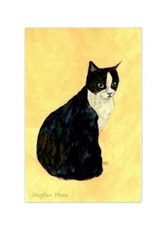 Original cat art painting of A Tuxedo Cat Looking by JingfenHwu, $40.00